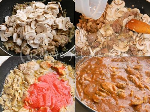 Tocanita de ciuperci cu carne de porc