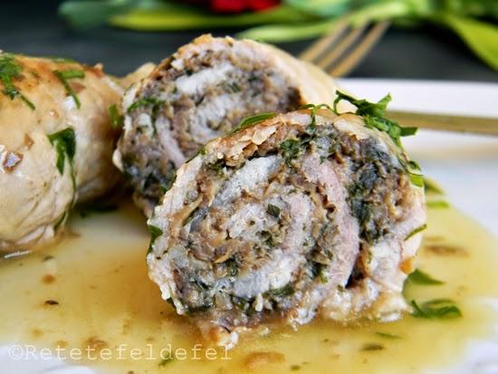Rulouri din carne de porc cu ciuperci