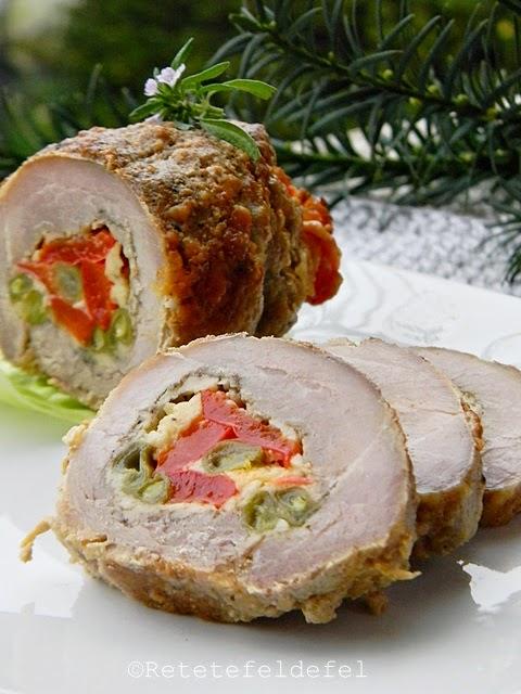 Rulada de porc cu cascaval si legume