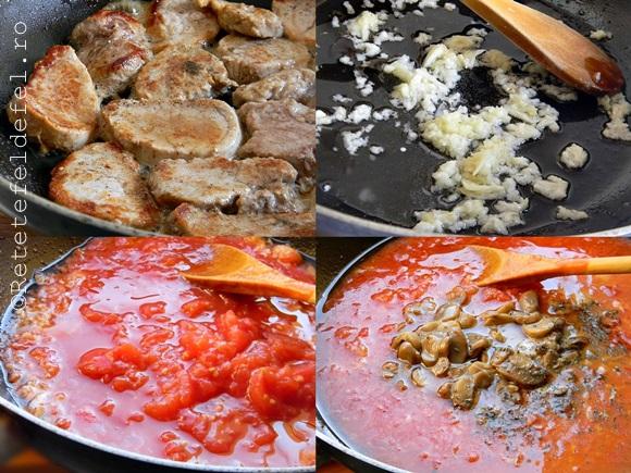 muschi de porc cu ciuperci in sos de rosii