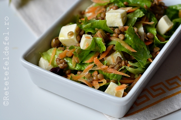 salata verde cu linte si mozzarella