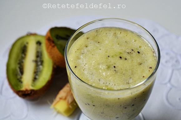 smoothie de kiwi cu mar verde si ghimbir