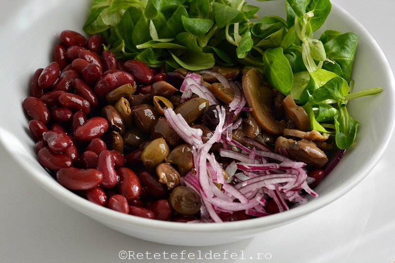 salata de fasole rosie cu ciuperci