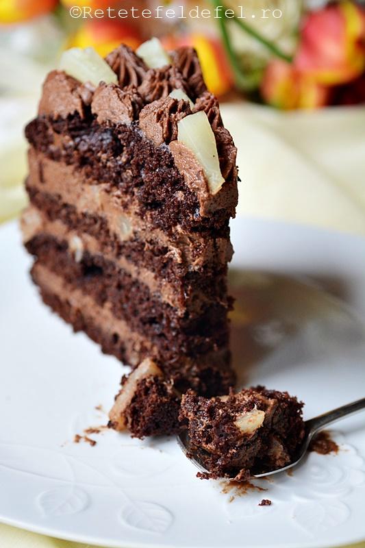 tort cu ciocolata ,mascarpone si ananas