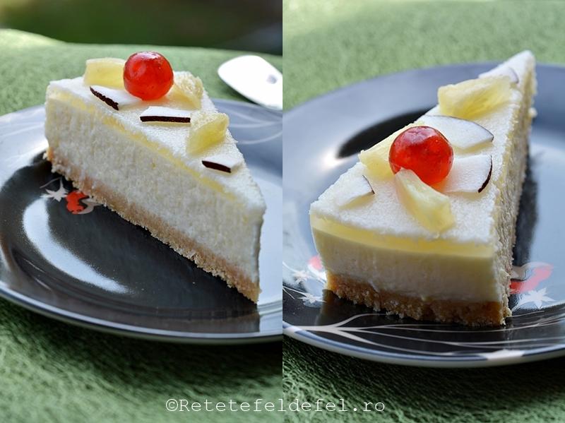 Cheesecake cu ananas si cocos