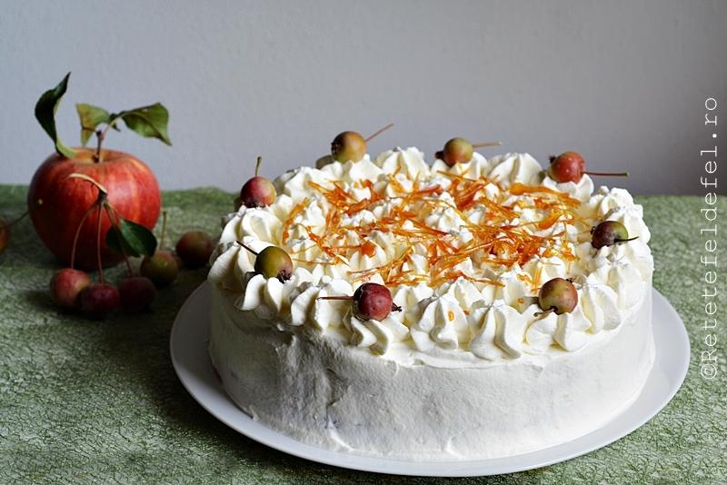 tort cu mere si crema de zahar ars