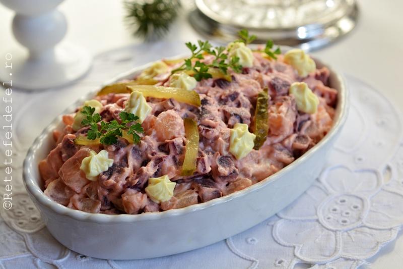 salata de sfecla rosie cu cartofi si maioneza