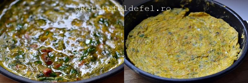 omleta cu ceapa verde si sunca afumata
