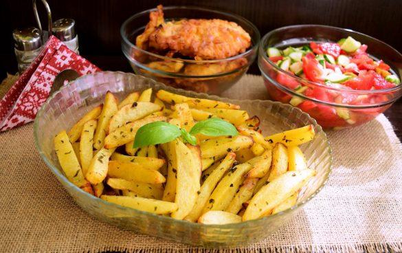 Cartofi cu unt aromat, la friteuza cu aer cald