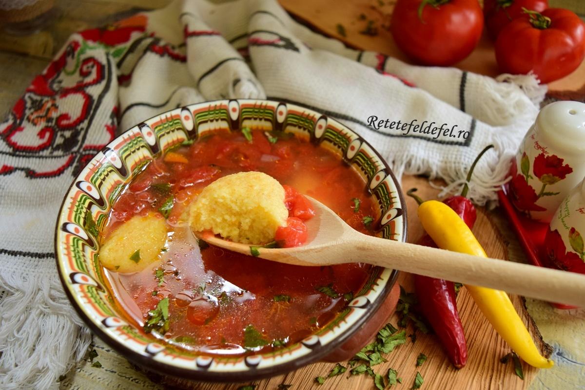 Ciorbă de roșii cu găluște de griș