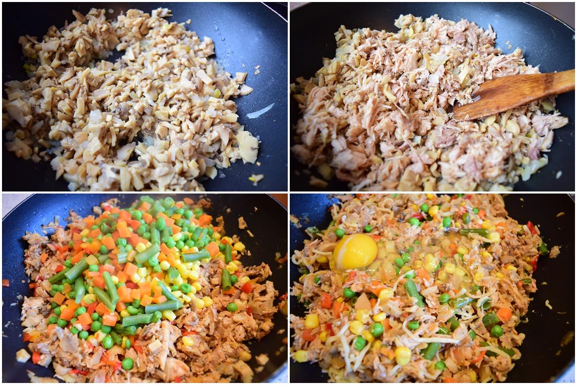 Ingrediente pentru plăcintă cu carne și legume