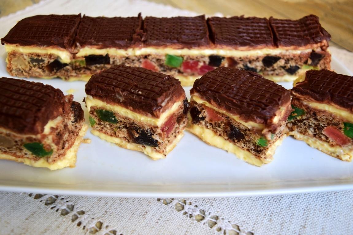 Prăjitură Mozaic cu nucă și rahat multicolor