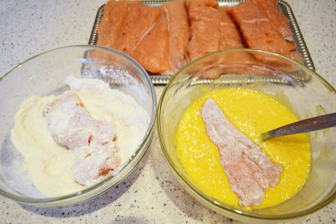 Pregătire Somon pane în crustă de muștar