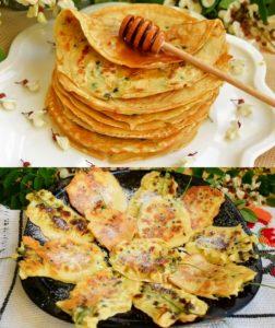 Clătite și mini clătite cu flori de salcâm