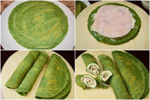 Colaj de poze cu clătite aperitiv cu spanac, simple și umplute cu brânză și șuncă