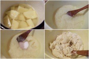 Colaj cu poze din timpul pregătirii aluatului de pâine cu cartofi