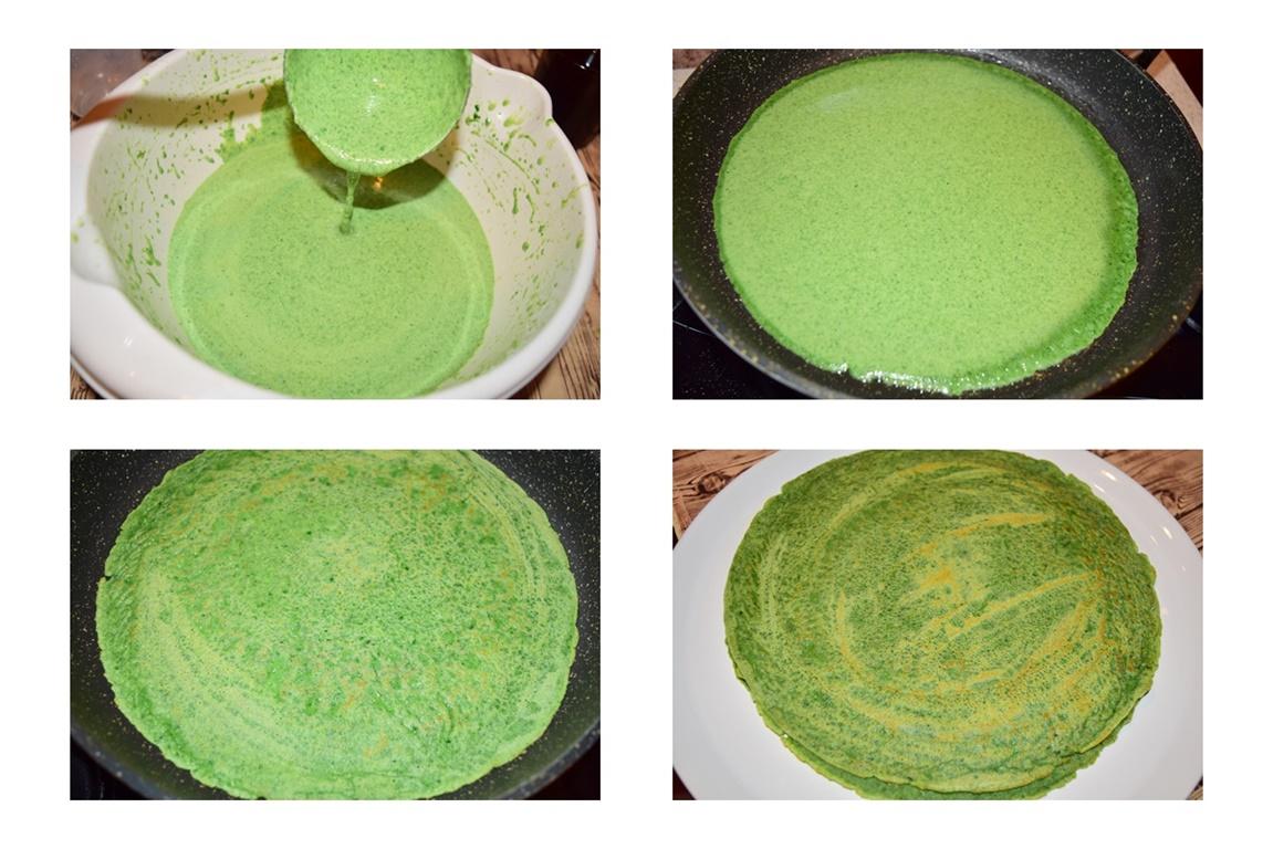 Colaj de poze cu pașii pentru prepararea clătitelor cu spanac