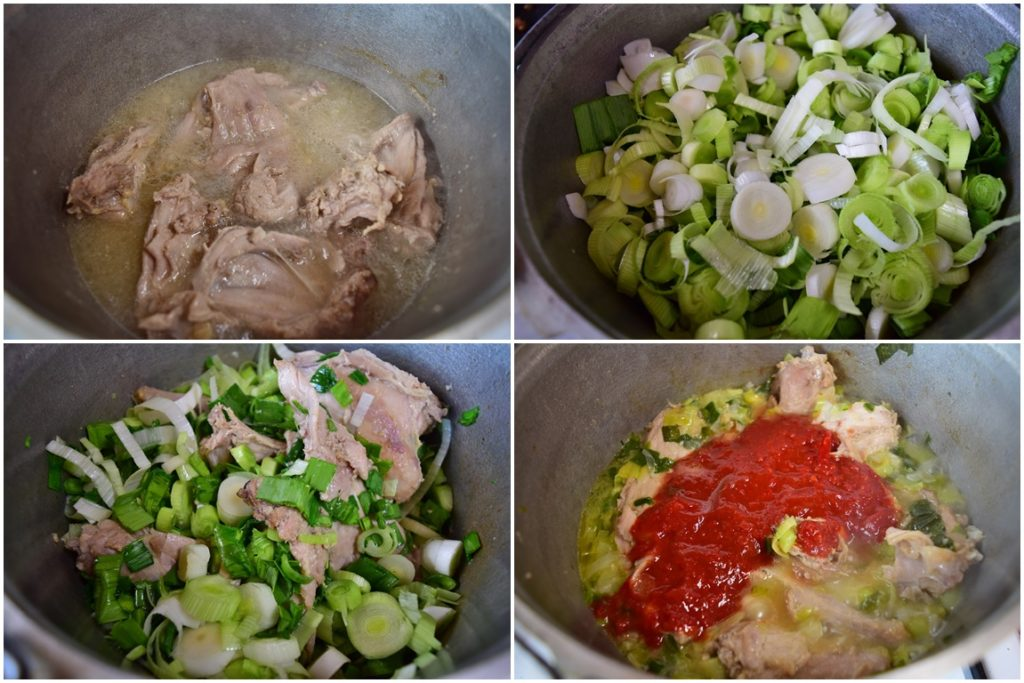 Colaj cu poze din timpul preparării mâncării de iepure cu praz