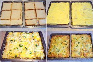 Colaj de poze cu pașii din timpul preparării sandvișurilor la cuptor