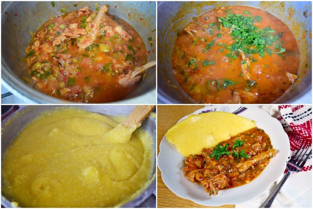 Colaj cu poze din timpul preparării și servirii mâncării de iepure cu praz