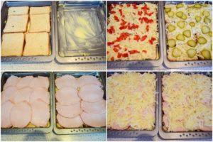 Colaj de poze cu pașii pentru asamblarea sandvișurilor la cuptor
