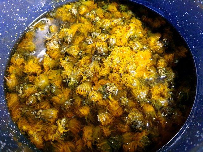 Flori de păpădie fierte pentru sirop