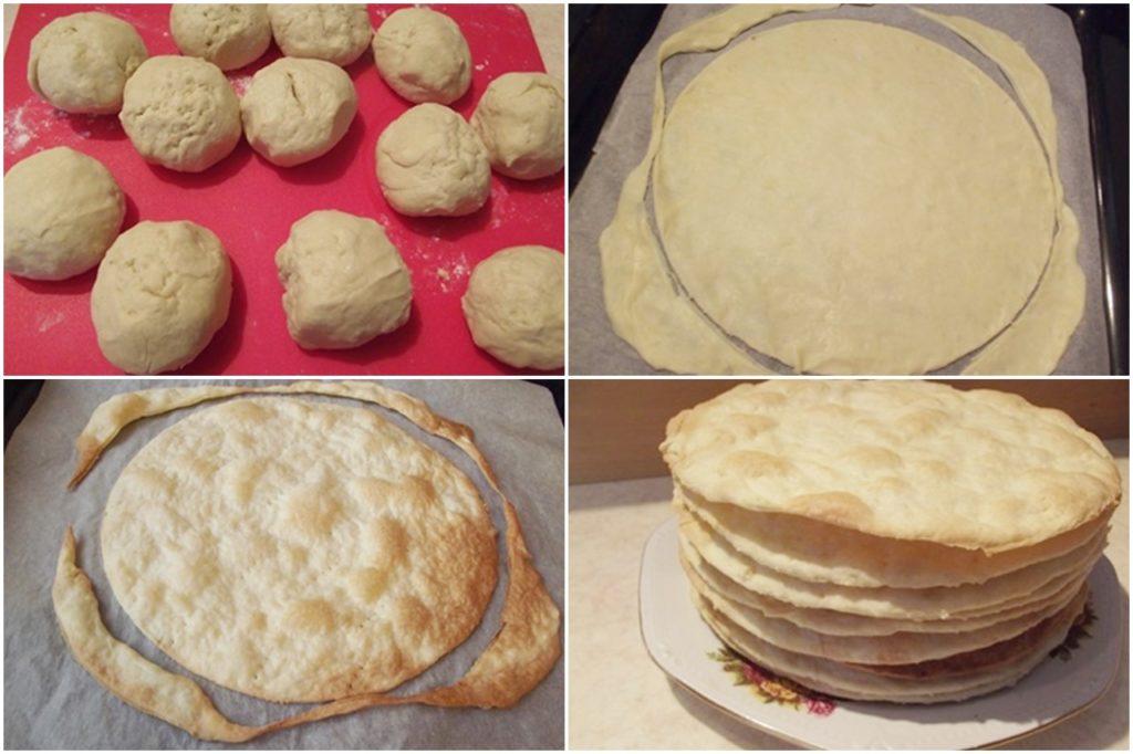 Colaj de poze cu pașii de preparare a foilor de tort Napoleon