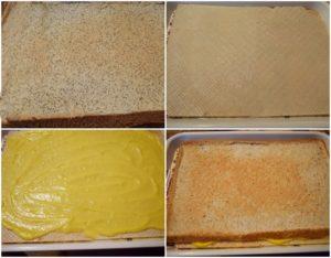 Colaj de poze cu asamblarea prăjiturii Furnicuța