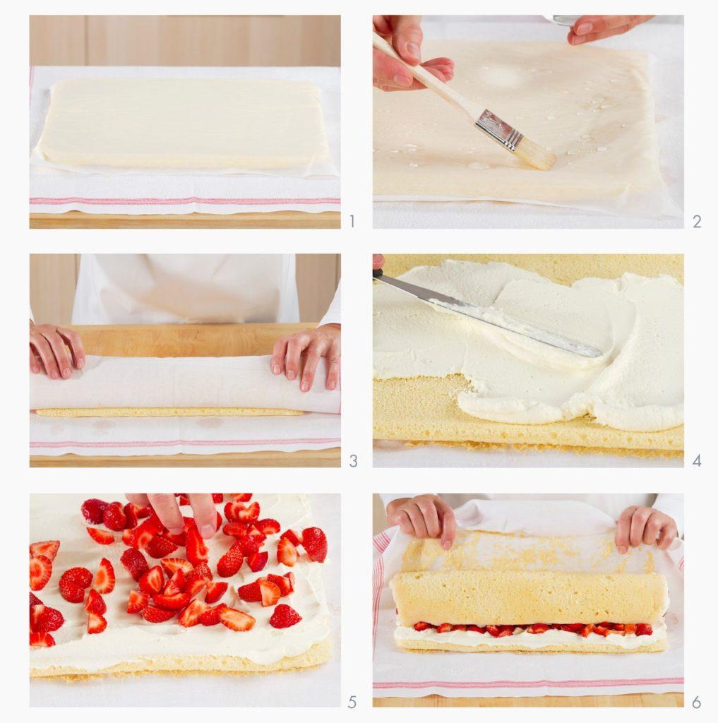 Colaj de poze cu pașii de preparare ruladă