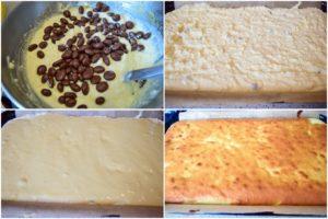 Colaj de poze cu pașii de preparare a prăjiturii turnată cu brânză