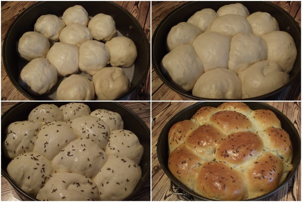Colaj de poze cumodul de asamblare al pâinii de casă, umplută
