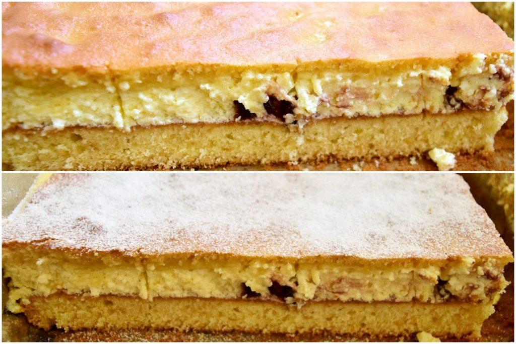Prăjitură turnată cu brânză simplă și pudrată cu zahăr
