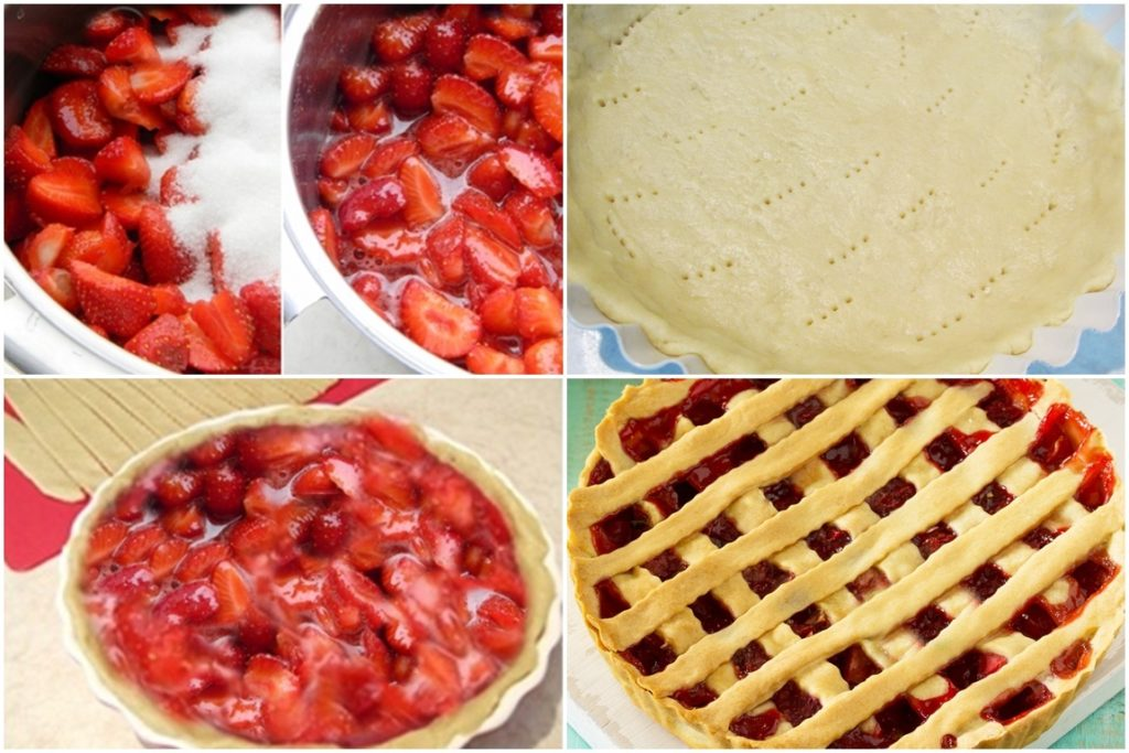 Colaj cu poze din timpul preparării tartei cu căpșuni și mentă