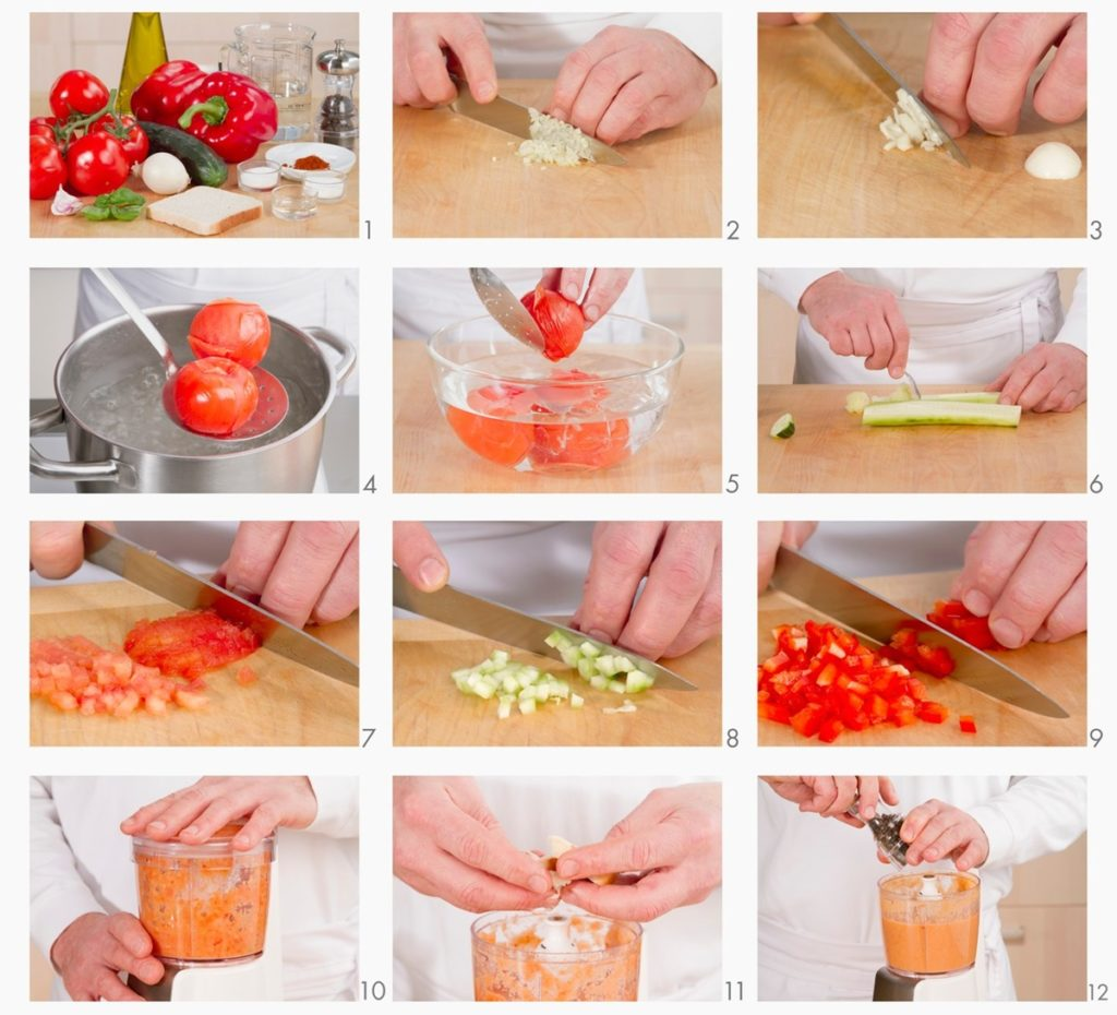 Colaj de poze cu modul de preparare al rețetei Gazpacho