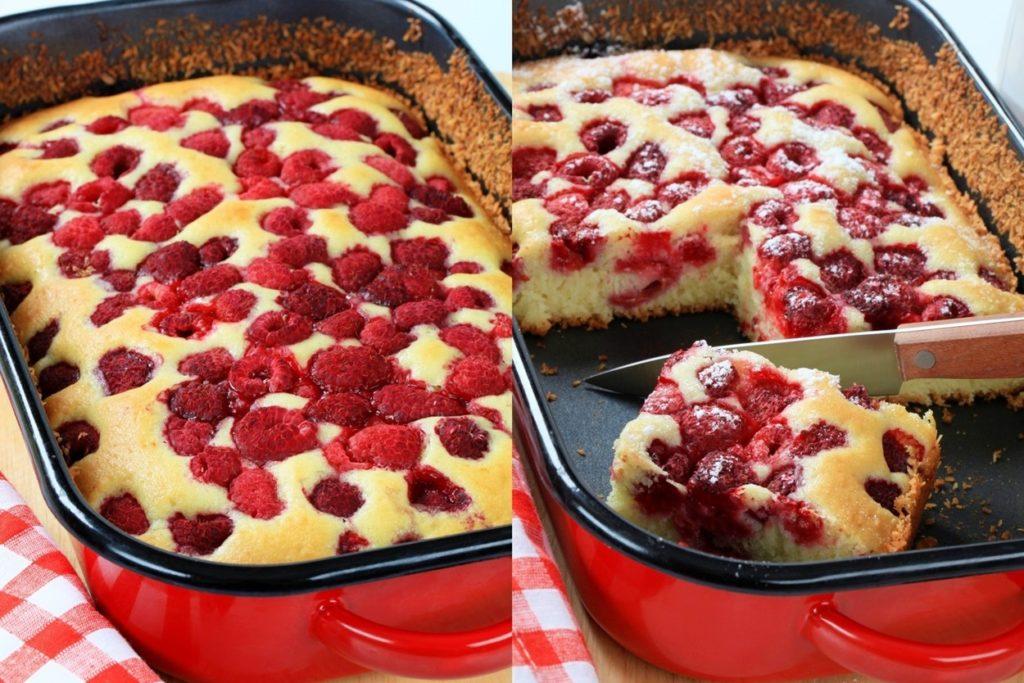Colaj de poze cu Prăjitură cu zmeură și iaurt în aluat, una secționată
