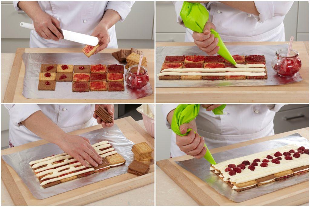 Colaj de poze cu pașii de asamblare ai desertului din biscuiți cu zmeură și ciocolată