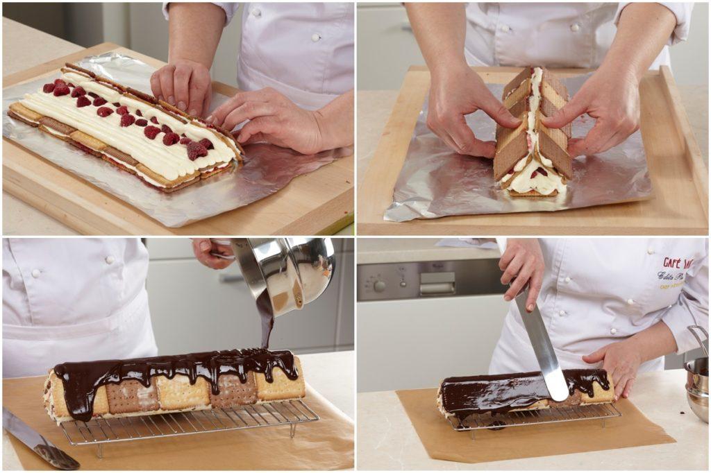 Colaj de poze cu pașii de asamblare și decorare ai desertului din biscuiți cu zmeură și ciocolată
