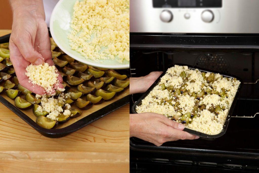 Pașii de pregătire și coacere Prăjitură cu prune și crumble