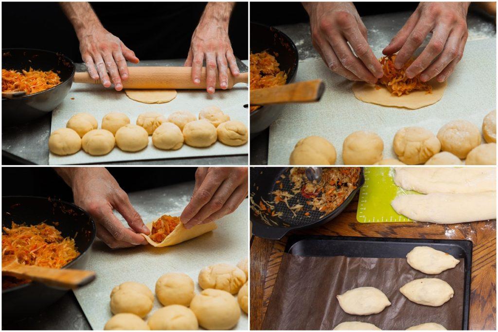 Colaj de poze cu pașii de preparare pentru Plăcinte rusești cu varză - Pirojki cu varză