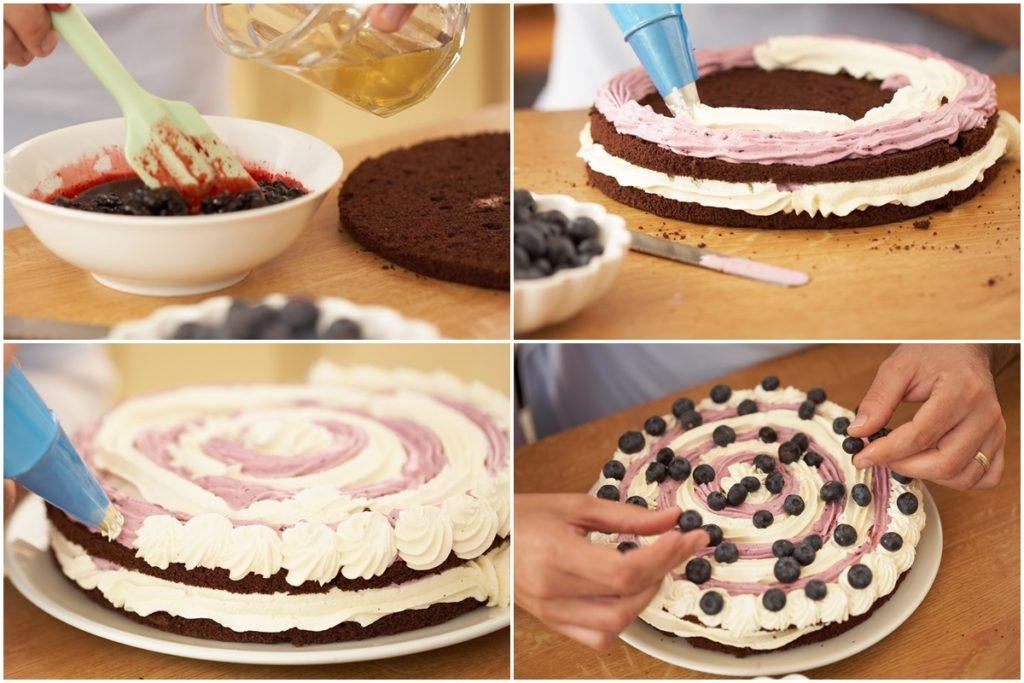 Colaj cu poze din timpul prepararii tortului cu afine și mascarpone