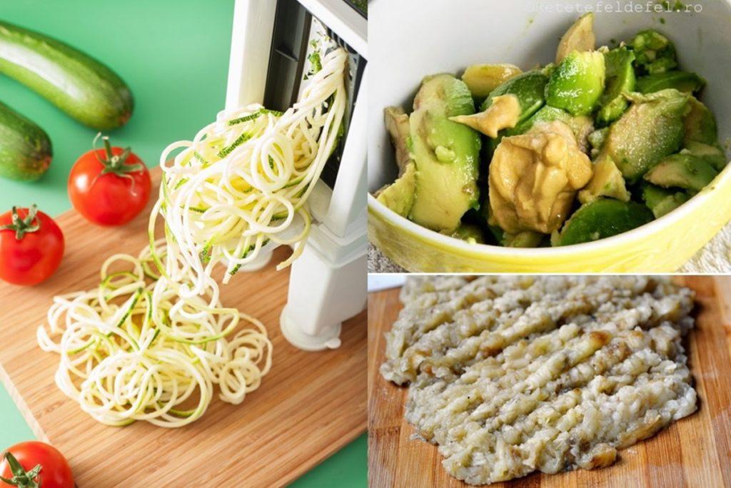 Colaj de poze cu pașii de preparare Salată de vinete cu avocado și dovlecel spiralat