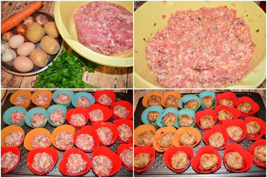 Colaj de poze cu pașii de preparat chiftele la cuptor