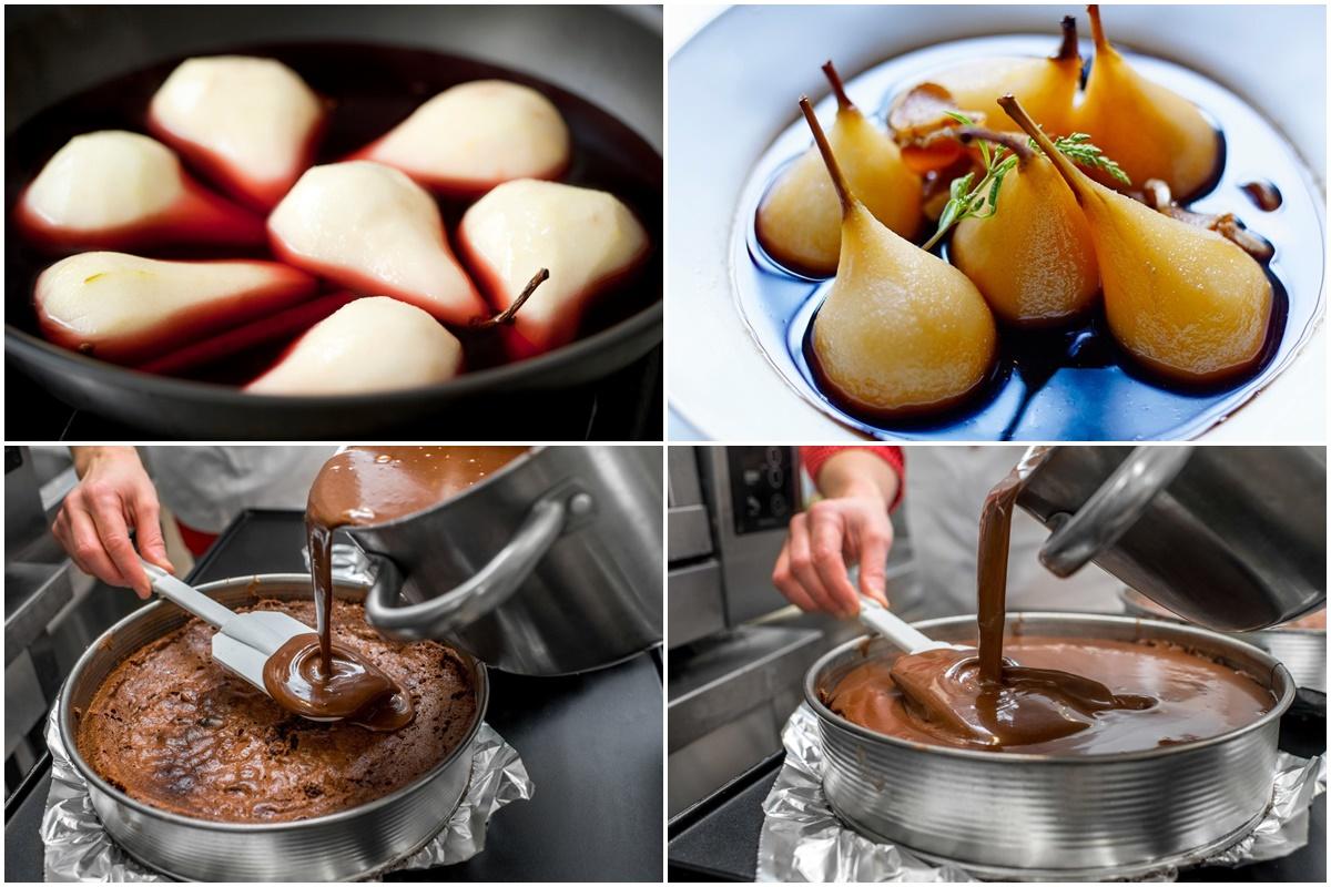 Colaj de poze cu pașii de pregătire a perelor și de asamblare a deliciosului tort cu mousse de ciocolată și pere poșate în vin
