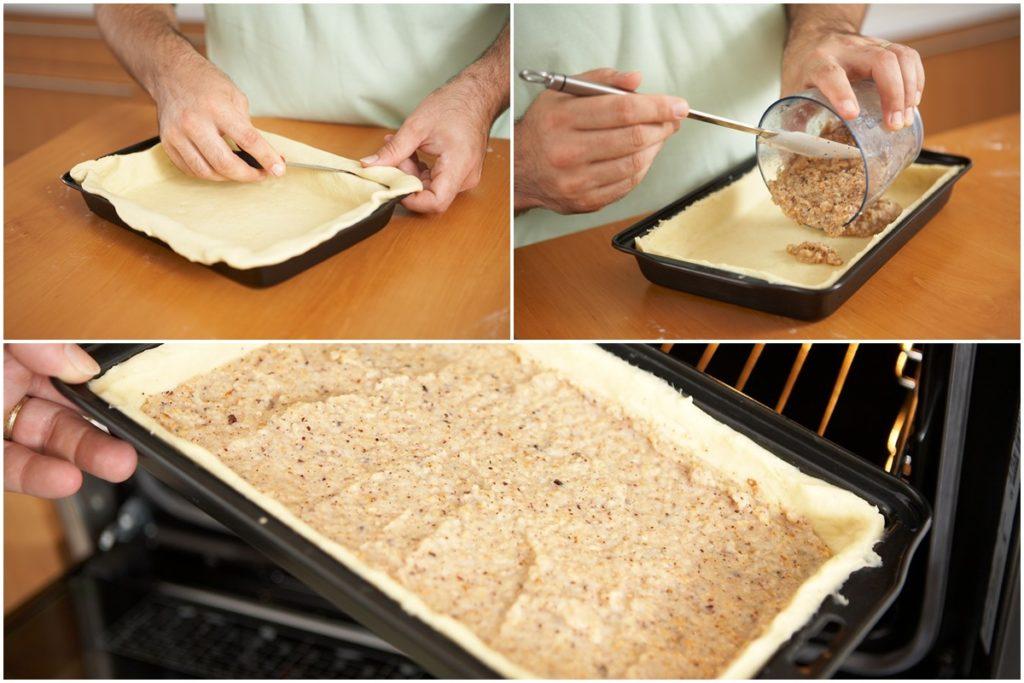 Colaj de poze cu pașii de asamblare ai prăjiturii cu pere și nuci
