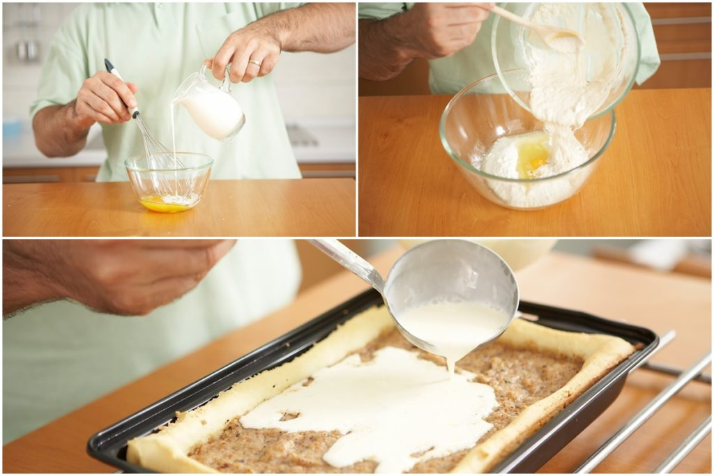 Colaj de poze cu pașii de preparare budincă de vanilie și întindere peste prăjitură