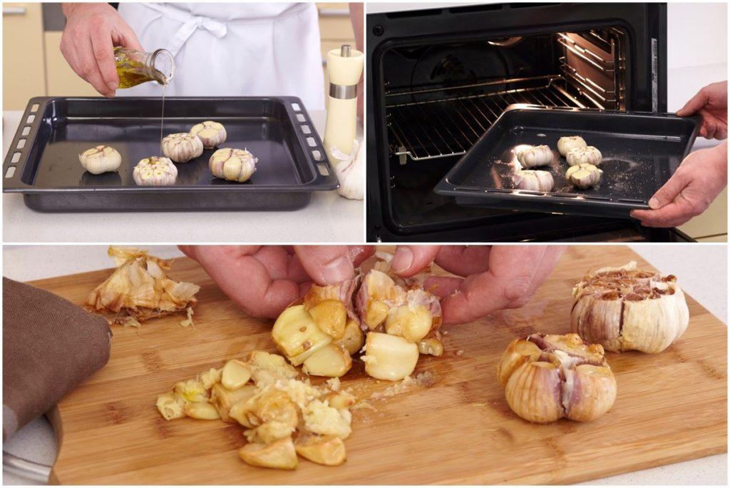 Colaj de poze cu modul de pregătire al usturoiului pentru rețeta de Supă cremă de usturoi cu bacon și crutoane