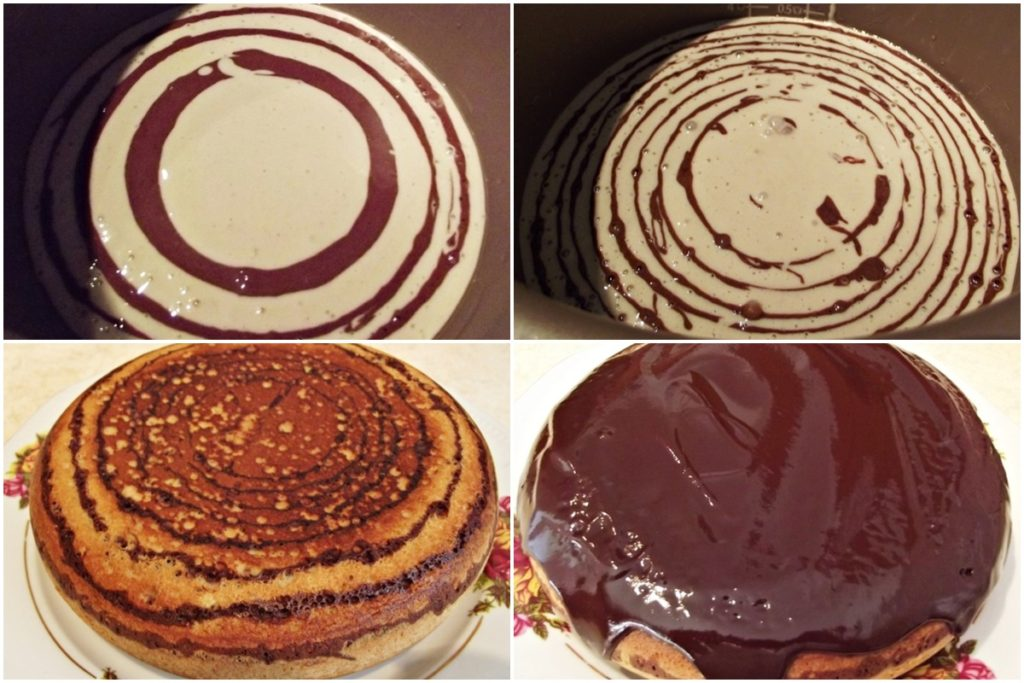 Colaj de poze cu pașii de preparare pentru rețeta de Chec marmorat și glazurat cu ciocolată