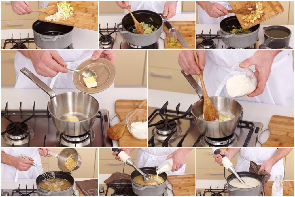 Colaj de poze cu pașii de preparare pentru rețeta de Supă cremă de usturoi cu bacon și crutoane