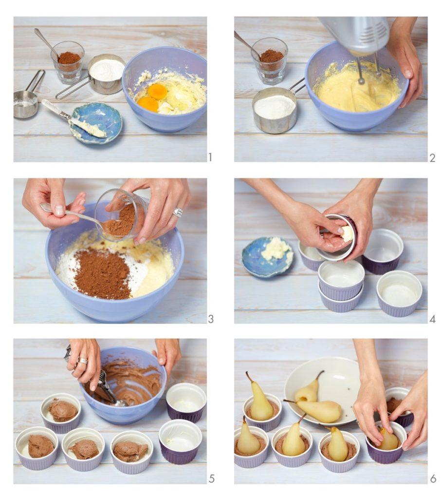 Colaj de poze cu pașii de asamblare a rețetei de prăjituri cu pere în vase ramekin