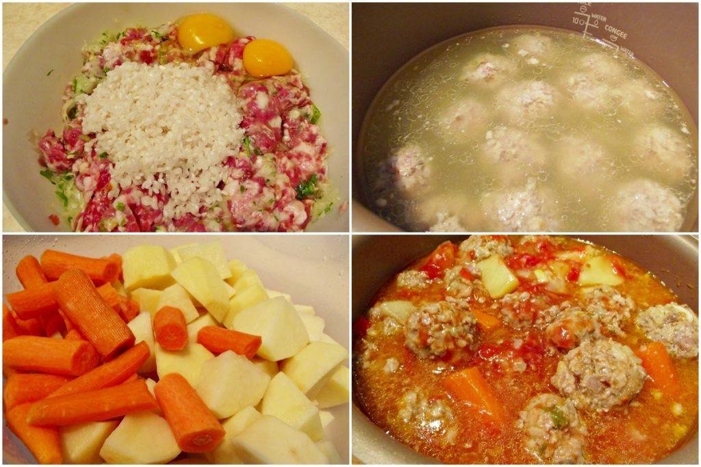 Colaj de poze cu pașii de preparare rețetă de Mâncare de cartofi cu perișoare și morcovi